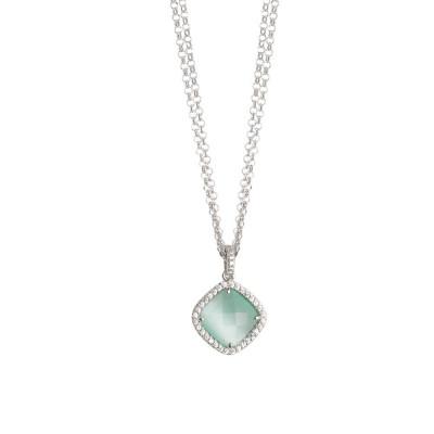 Collana doppio filo con cristallo green mint e zirconi