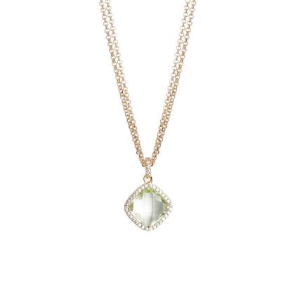 Collana doppio filo con cristallo chrysolite e zirconi