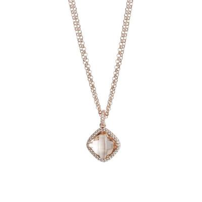 Collana doppio filo con cristallo peach e zirconi