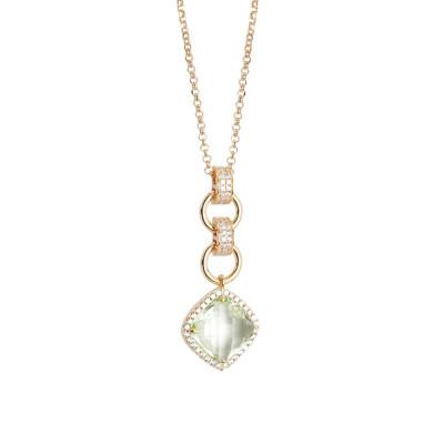 Collana con pendente di cristallo briolette chrysolite e zirconi