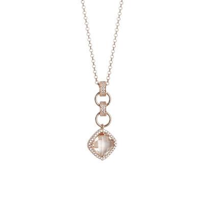 Collana con pendente di cristallo briolette peach e zirconi