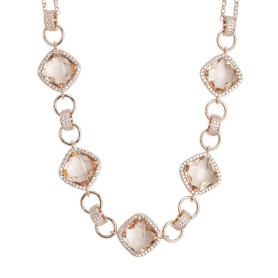 Collana doppio filo con decoro centrale di cristalli peach e zirconi