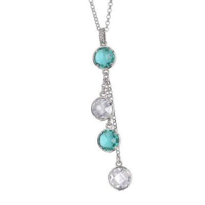 Collana con pendente a ciuffetto di cristalli verde acqua e crystal e zirconi