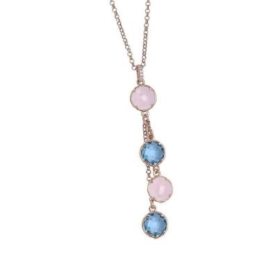 Collana con pendente a ciuffetto di cristalli sky e quarzo rosa milk