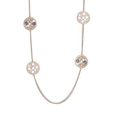 Collana lunga doppio filo placcata oro rosa con decori in Swarovski