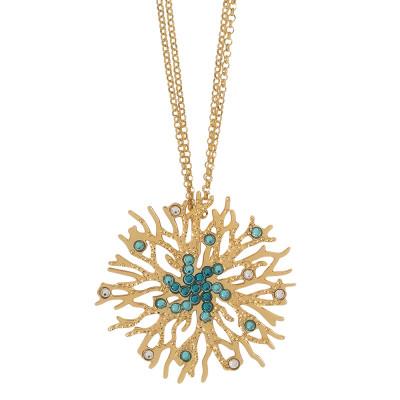 Collana doppio filo con pendente corallo e Swarovski verde