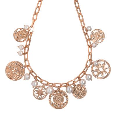 Collana placcata oro rosa con charms, cristalli e perle Swarovski