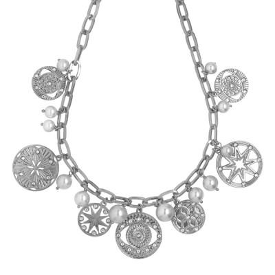 Collana rodiata con charms, cristalli e perle Swarovski