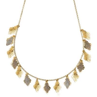 Collana placcata oro giallo con foglie di lisce e glitterate