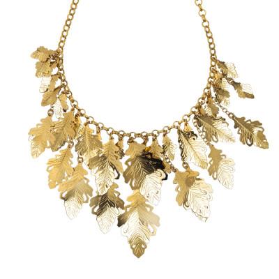 Collana placcata oro giallo a maglie cotronate e foglie di quercia