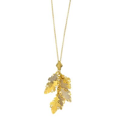 Collana placcata oro giallo con ciuffetto di foglie di quercia