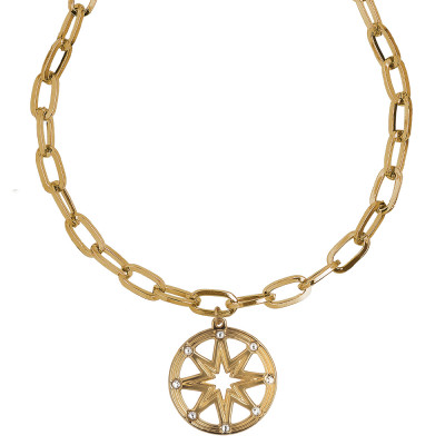 Collana placcata oro giallo a maglie rettangolari con pendente e Swarovski
