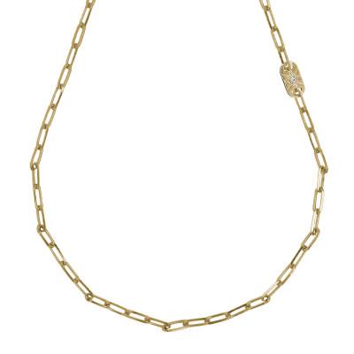 Collana corta placcata oro giallo a maglie ovali piccole e Swarovski