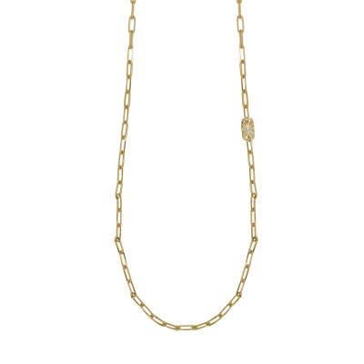 Collana lunga placcata oro giallo a maglie ovali piccole e Swarovski