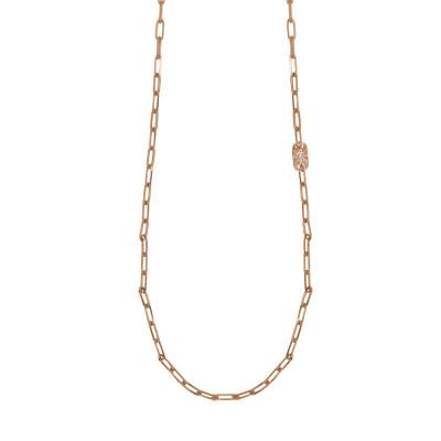 Collana lunga placcata oro rosa a maglie ovali piccole e Swarovski