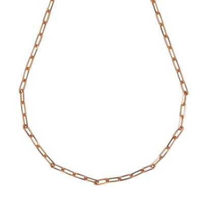 Collana corta placcata oro rosa a maglie ovali piccole