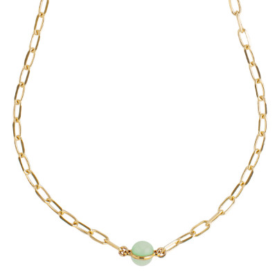 Collana a catena con cabochon color latte e menta opaco