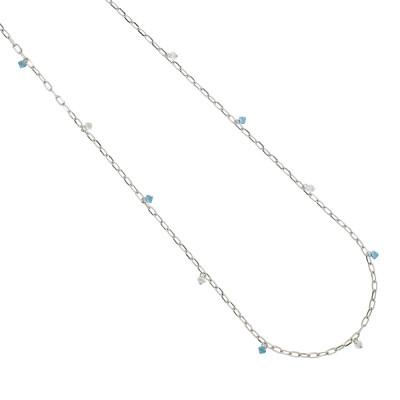 Collana lunga a catena con cristalli Swarovski crystal e acquamarina