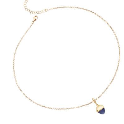 Collana con cristallo color tanzanite pendente