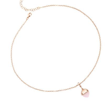 Collana placcata oro rosa con cristallo color quarzo rosa