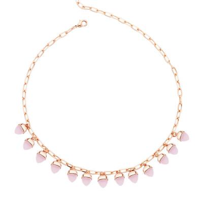 Collana con cristalli piramidali color quarzo rosa