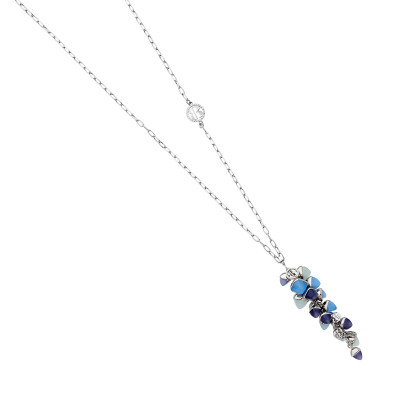 Collana con grappolo di cristalli color tanzanite, acquamarina e calcedonio