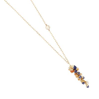 Collana con grappolo di cristalli color tanzanite, corniola e pietra di luna