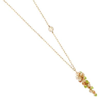 Collana con grappolo di cristalli color olivina, corniola e pietra di luna