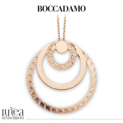Collana placcata oro rosa con maxi pendente concentrico