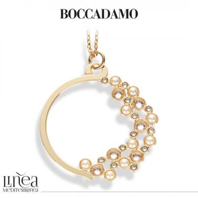 Collana con pendente circolare e Swarovski crystal, silk e white pearl