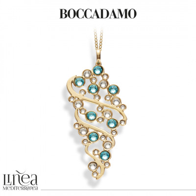 Collana con pendente e Swarovski crystal e light turquoise