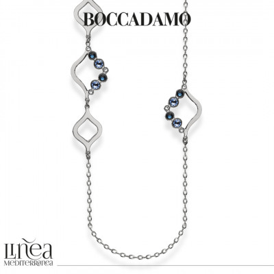 Collana lunga con Swarovski crystal, montana e light sapphire