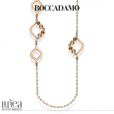 Collana lunga con Swarovski crystal, copper e golden shadow