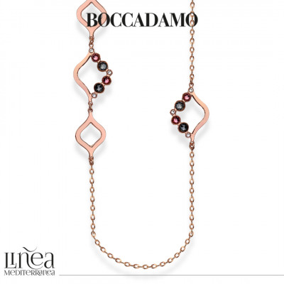 Collana lunga con Swarovski crystal, antique pink e silver night