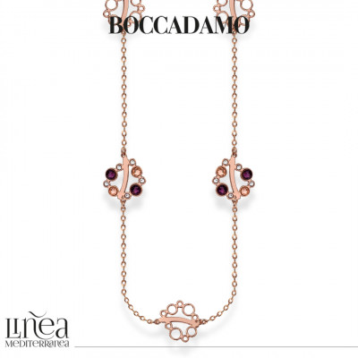 Collana lunga con Swarovski crystal, light peach e amethyst