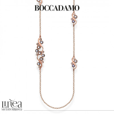 Collana lunga con Swarovski crystal e blue shade