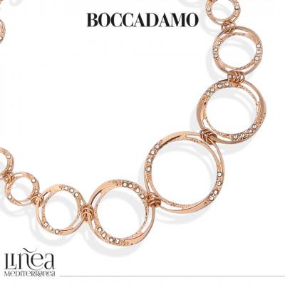 Collana placcata oro rosa a moduli circolari degradè e Swarovski