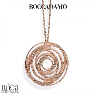Collana placcata oro rosa con pendente concentrico e Swarovski