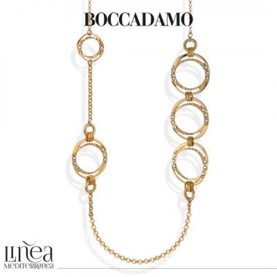 Collana Chanel placcata oro giallo con decori circolari Swarovski