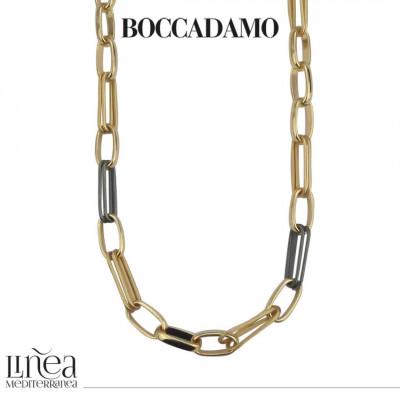 Collana catena lunga bronzo giallo con rutenio effetto corda