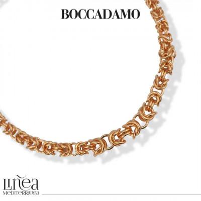 Collana in bronzo rosa catena bizantina media argentata
