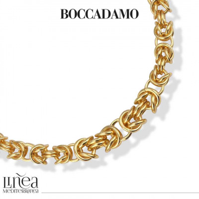 Collana bronzo giallo catena bizantina grande argentata