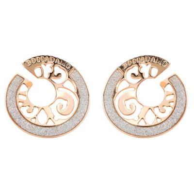 Orecchini in bronzo placcato oro rosa a spirale e glitter