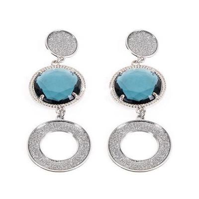 Orecchini pendenti con glitter e cristalli blu London