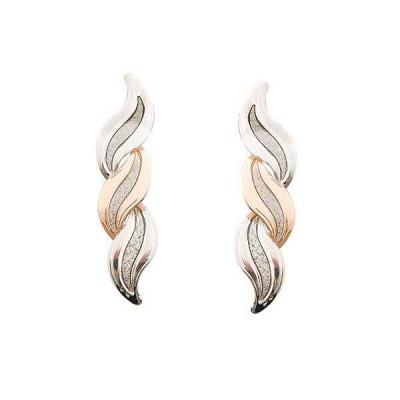 Orecchini pendenti bicolor con nodo d'amore
