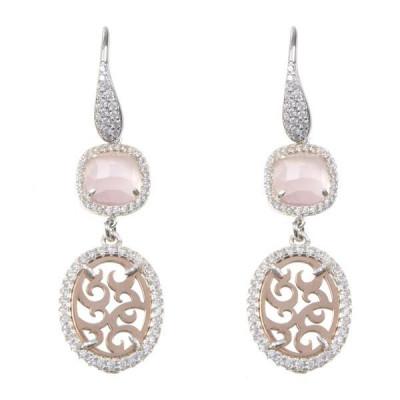 Orecchini con zirconi e cristallo briolette rosa