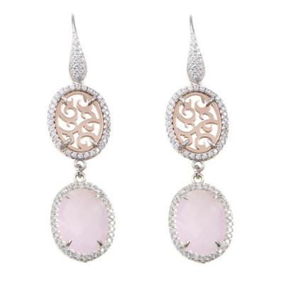Orecchini pendenti con zirconi e cristallo briolette rosa