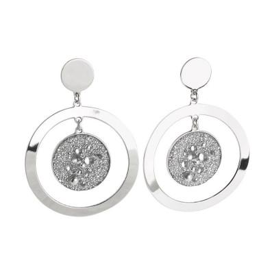 Orecchini concentrici con superficie Swarovski galuchat silver