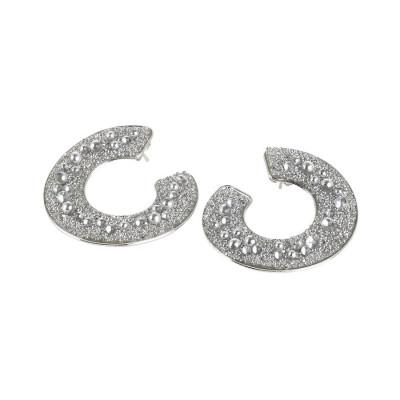 Orecchini a spirale con superficie Swarovski galuchat silver