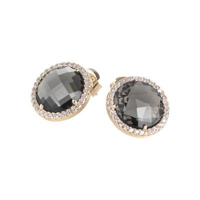 Orecchini con cristalli smoky quartz e zirconi